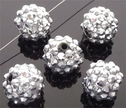 Code: D08546    --- Perle synth. Shamballa 14mm Argent-Gris---