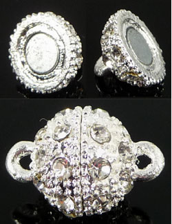 Code: D08506    --- Fermoir magnetique +- 18x14mm. Argente---
