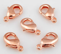 Code: D11289    --- Mousqueton metal +- 12x7mm. Couleur or rose---